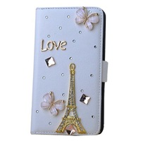 White 3D Bling Crystal Plush Fox Folio Flip Card Holder Synthetic Leather Cover Case for Samsung Galaxy Note 3 III N9000