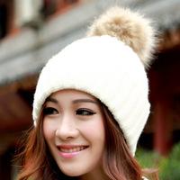 Winter Beanie Real Fur Knitted Hat Cap For Women Warm Winter Man Wool Knitted Beanies Free Shipping Women Caps Raccoon Fur Hats