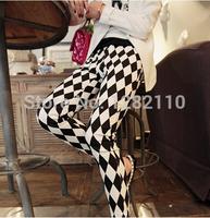 2014 new style spring women Black and white diamond lattice nine points  female fashion summer leggings,Korean silk feet pants