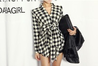 Fashion New Spring Women's Long Sleeve Houndstooth Print Open Stitch Belt Peplum Slim Jacket Cardigan Coat Top Free Shipping