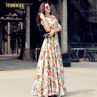 2014 street fashion half sleeve long maxi dress plus size V-neck women's vintage floral dress slim waist floor-length dress