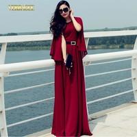 2014 High fashion women's butterfly sleeve long chiffon dress O-neck high waist party evening dress plus size floor-length dress