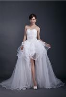 Free shipping short wedding dress oganza+lace+beading