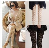 New spring and summer feet pants Korean fashion women Slim Stretch lace leggings big yards female gauze pants
