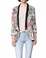 2014 New Women Vintage Flower Print Blazers & Jackets Fashion Floral Blazer Suits For Women Desigual Brand Basic Blaser Feminino