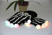 Free Shipping Newest Skull Fingertip Luminous LED Light Flashing Gloves Mittens Rave Party Skating Riding Bar Concert Props