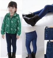 Free Shipping 2014 Children's clothing retail Autumn New Slim girls Washed blue stretch jeans trousers boy pants thin Jeans