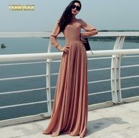 2014 New autumn fashion long dress solid color chiffon dress high waist women's long floor dress plus size vintage maxi dress