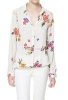 2014 Hot Sale Fashion Vintage Floral Print Pattern Chiffon Blouse Women Long Sleeve Shirt Tops Drop Shopping