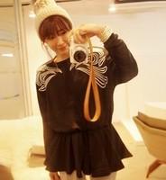 6318 # embroidery pattern loose skirt thick fleece sweater Korean dress