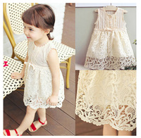 Free shipping 5pc/ lot Top Qaulity Korean Style Cotton Sleeveless Knitted Hook Beige Lace Girl Dress Kids Princess Dress