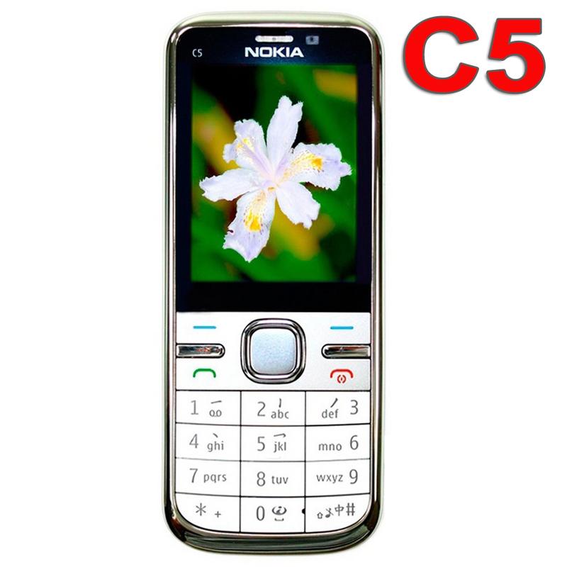 Original Nokia C5 Mobile Phone 3G Unlocked Refurbished Classic Phone c5-00 English Russian Arabic Keyboard(China (Mainland))