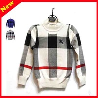 2-7Y childrens clothing best pullover Grid woollen sweater,pullover sweaters for kids boys apparel knit woollen sweaters 3COLOR