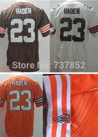 Cheap New Men's #23 Joe Haden Jersey Team Color Orange White Elite American Football Jerseys Accept Free Dropshipping