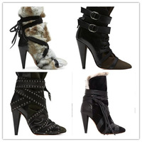 2014 fall winter NEW women ankle boots genuine leather fur warm high heel boot Women shoes sling back rabbit hair autumn