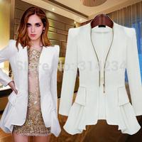 NEW!2014 Fashion Jacket Blazer Women Suit slim Long Sleeves irregular sweep With zipper autumn Vogue Blazers Jackets S TO XXXL