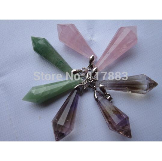 A++ Natural Rose Quartz Aventurine Jade Ametrine Crystal Pendant Gem Stone water drop pendant DIY Jewelry making Wholesale(China (Mainland))