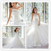 Sophisticated A-line Floor length Chapel train Crystal Beading One Shoulder Strap Draped Organza Drop Waist Wedding Dresses