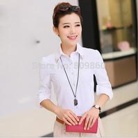 2014 women Solid overalls shirt Slim shrts Cotton Slim Career tooling blouse