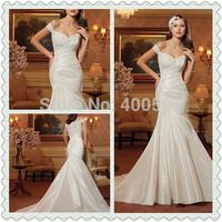 Sassy Slim A-line Floor length Chapel train One Shoulder Strap Sweetheart Beaded Lace and Taffeta Sparkling Wedding Dresses