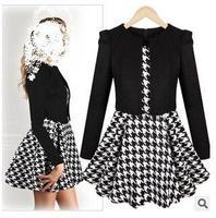 NEW WOMEN'S AUTUMN COTTON PLEATED BLACK PLOVER MINI DRESS  FULL SLEEVE PATCHWORK CUTE CASUAL FASHION DINNER EVENING DRESS M,L,XL