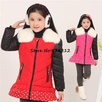 Lasted Winter Children Girls Winter Warm Coat High Quailty Kids Girl Outwear Baby Girls Clothing 1pcs Free Shipping TDY-1405