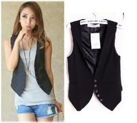 New Fashion Womens Slim Black WaistCoat School Girl Sleeveless Covered Button Vest Ladies' Fashion Jacket BLAZER NL81