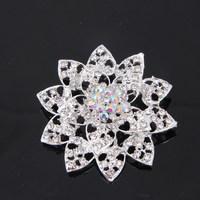 Fashion New Silver Plated Wedding Bridal Accessories Brooches Top Elegant Crystal Rhinestone Women Wholesale Brooches