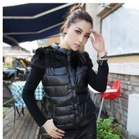 New Fashion Winter Fashion Women's Warm PU Fur Cotton Padded Down Vest Jacket Coat Five Color , Three Size NL82