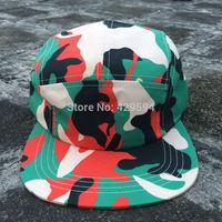 Cheap and high quality wholesale green camo pattern 5 panel snapback cap camp hat custom baseball cap