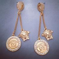 European and American retro exaggerated fashion long paragraph pins temperament female coins lion head earrings