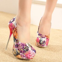 2014 New fashion  beautiful nightclub platform Luxury trend floral blazed high heels high-heel shoe pumps drop shipping M104