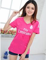 women Real Madrid 2015 Soccer Jerseys Football Away Pink Shirt Jacket Football Champions League Uniforms quick dry