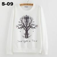 [ANNY]2014 new style fashion style Lovely big tree hoodies women thin sweatshirt free shipping