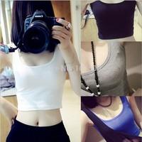 2014 Summer/Fall New 1 Size Woman Clothing bottoming shirt Fashion short paragraph Slim bottoming harness vest shirt 100%Cotton