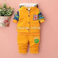 Cold Winter Boys Fashion Sport Suit Size 100-120 Children Warm Jacket + Waistcoat + Pants 3PCS Kids Design Clothing Set