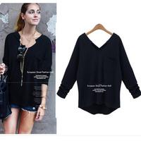 B654 XL-5XL Plus Size 2014 New Autumn Fashion Women Zara2014 European Style Loose Batwing V Neck Irregular Girl's Tops T-shirt