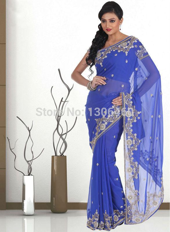 2014 Royal Blue Luxury indian saree With Crystal Beading Embellish One Shoulder Long Sleeve Dubai Muslim Dresses Abaya in Dubai(China (Mainland))