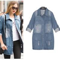 B513 XL-5XL Plus Size Autumn New Fashion European Style desigual Denim Jeans Overcoat High Quality Holes Woman's Female Coat