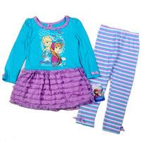 9841 frozen anna elsa princess party fashion autumn girls clothing sets flower print tutu dress striped legging children suit