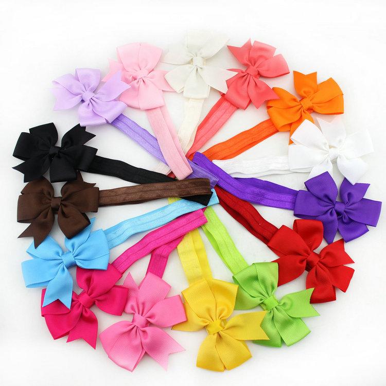 Retail baby girl hair band ribbon bow flower headband infant elastic hairband newborn kids hair wear children accessories(China (Mainland))