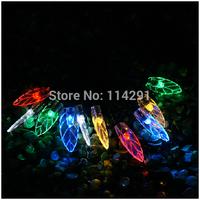 2014 New SLL01 10 LED Colorful Leaf Solar String Lights luminaria innovative decoration solar powered led string lights
