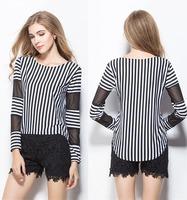 Long-sleeve o-neck Gauze patchwork Strip Cotton Blend T-shirt W4383