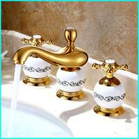 "Gold Classic Bathroom Sink Faucet Mixer Water Tap Dual Handle Deck Mounted 4"" Minisoread torneira para banheiro Basin Faucets"