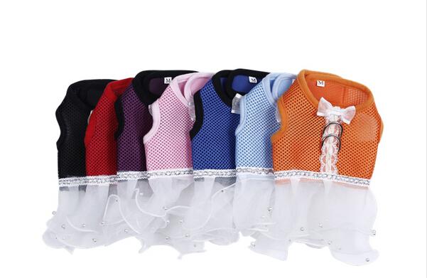 New Fashion pet dog tutu lace dress doggy skirts dogs clothes puppy harness 1 pcs/lot free shipping(China (Mainland))