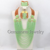 2014 Latest Fashion Nigerian Wedding Bridal Jewelry Set Popular Mint/Gold Crystal Brides Jewelry Set Hot Free Shipping GS569