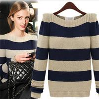 2014 New Fashion Style Women Autumn-Winnter Geometric  Vintage Striped Long Sleeve Loose Pullover Knitted Sweater Knitwear