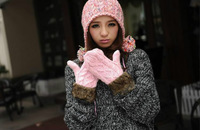 2014 Hot Sale! G twist/lovely lady winter pure manual weaving upset warm feather fashion   hang neck wool gloves Free Shipping