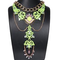 2014 New Fashion Ethnic Tattoo Choker Shourouk Necklace Women Party Chunky Necklace & Pendant Statement Jewelry