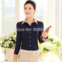 2014 Autumn long-sleeved shirt Slim Korean female professional hit autumn color chiffon shirt blouses